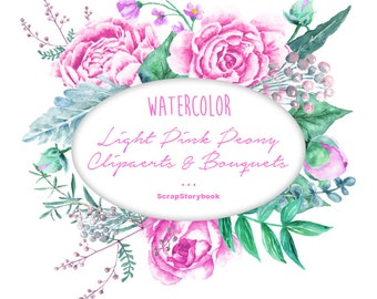 Watercolor Light Pink Peony Cliparts & Bouquets - digital printable watercolor clipart