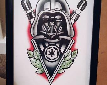 Star Wars Drawing A4 Original