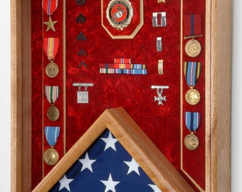Military Shadow Box - Military 3x5 Flag & Medals Display Case