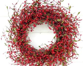 Christmas Wreath-Winter Wreath-Holiday Wreath-Christmas Door Wreath-RED Berry Wreath-Rustic Christmas Wreath-Holiday Home Decor-Scent Wreath