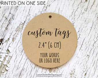 """24 custom tags with your word or logo, circle shape 2.4"""", logo tags, personalized tags, custom wedding favor tags, welcome bag tags (T-122)"""
