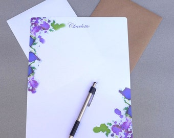 Writing Paper Set, Personalized Stationary Set, Letter Writing Paper, Correspondence Sheets, Notes, Purple, Pink & Green, 5 x 7 And 8 x 10