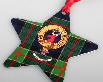 Clan Crest and Tartan Christmas Ornament - Star