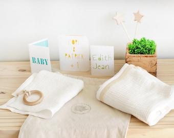 Baby swaddle, double gauze blanket, lace gauze blanket, boho baby blanket, baby shower gift, blanket and lovey set, baby white muslin