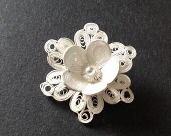 Vintage Filigree Sterling Flower Brooch
