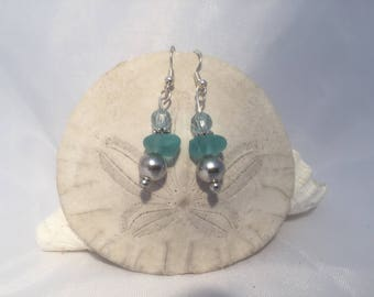 Aqua sea glass earrings, sea glass jewelry, beach glass jewelry, sea glass earrings, genuine sea glass jewelry, real sea glass,