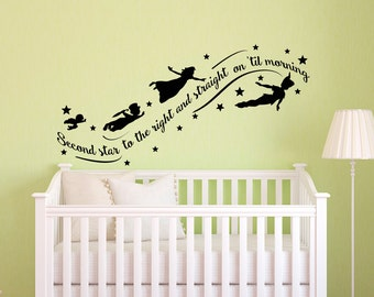 Peter Pan Wall Decal Quote- Wall Decals Nursery- Second Star To The Right Peter Pan Nursery Quotes- Kids Boys Room Playroom Home Decor 010