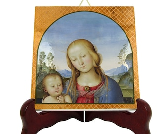 Religious art - Virgin and Child - catholic gift - tile art - Virgin Mary icon - VIrgin Mary art - Perugino - handmade in Italy