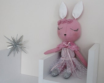 BUNNY FABRIC DOLL - Large - Peony Pink - Simple and Chic Ballerina Theme - Heirloom Cloth Doll - Limited