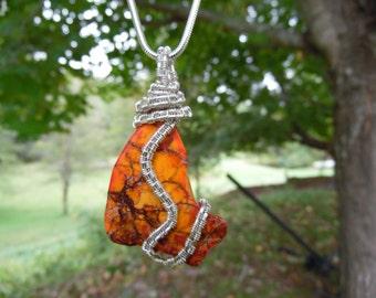 Orange Jasper Wire Wrapped Necklace