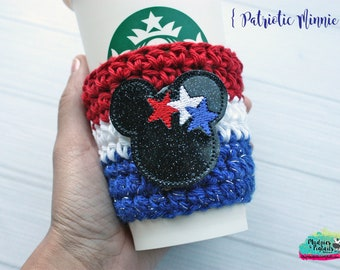 4th of July Drink Cozy { Patriotic Mouse } red, white blue Stars, Summer Coffee cup cozie, coffee sleeve, stocking stuffer, plastic cups