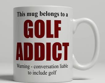 Golf mug, golf player mug, golfer mug, golfer coffee mug, golf gift idea, golf coffee mug, mug golf birthday gift idea, EB addict golf