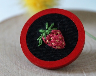 Strawberry Pin, Nature, Black and red, Handmade, Embroidered, Wooden pin, Lapel pin, Gift, One of a kind