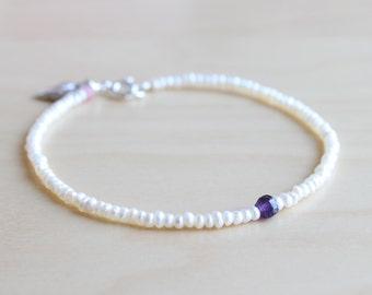 Dainty pearl bracelet / heart bracelet / delicate bracelet / wedding bracelet / artisan jewelry
