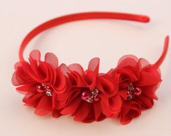 Red girls headband, red flower girl headband, red satin headband, red hair accessory, toddler headband, red chiffon flower headband girls