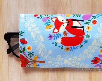 Red Fox Eyeglasses Cases Sunglasses Case Sleeve Soft Reading Glasses Cover Blue Owls Cute Eyeglass Case Soft Glass Holder Pouch
