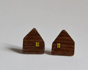Dark wooden house earrings
