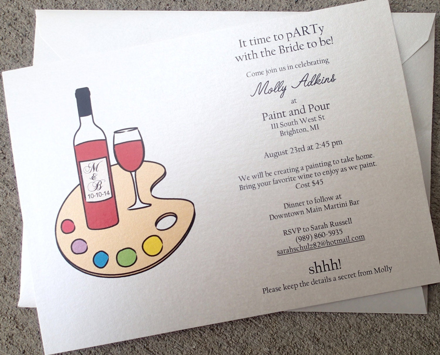 Wine Party Invitation: Drink and Paint Party Invitation Paint