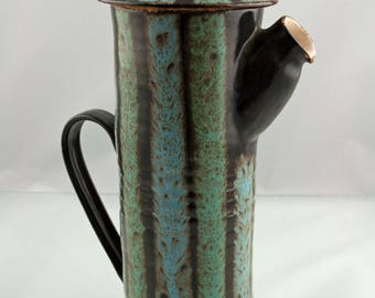 Gorgeous Vintage 1960s Newlyn Pottery Coffee Pot With Striped Glaze - Eric Leaper