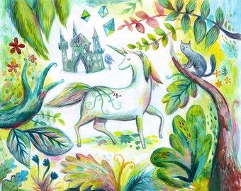 Art Print, Folk Art, Wall Art, Giclee Print, Unicorn Print