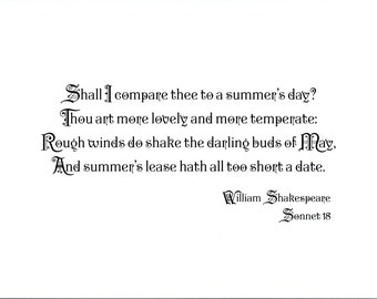 Famous Shakespeare Quote Print - Sonnet 18 - Prints for Lovers - Choose Typeface