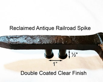 """1"""" Right Sealed Railroad Spike Cupboard Handle Dresser Drawer Pull Cabinet Knob Antique Vintage Old Rustic Re-purposed House Restoration"""
