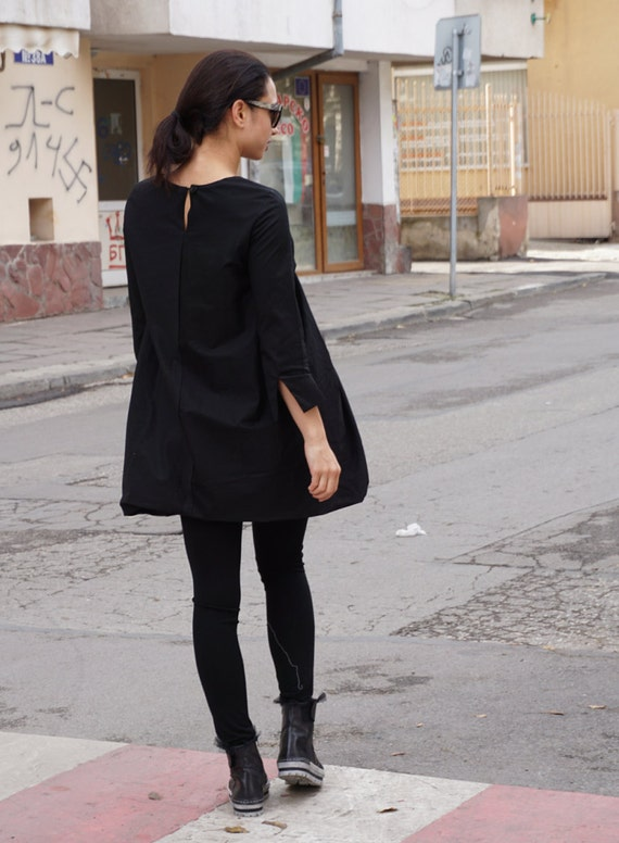 Short Black Extravagant Dress Tunic / Drapped Balloon Avant Garde Party Oversized Dress Tunic