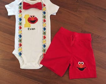 Elmo Personalized inspired Embroidered First birthday, Boys birthday outfit, Baby boy first birthday, elmo party, elmo outfit