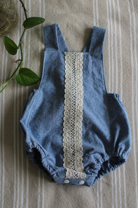 Chambray Romper + Lace Romper, Bubble Romper, Baby Girl Romper, Boho Romper, Vintage Inspired Romper, Retro Baby Romper, Baby Playsuit