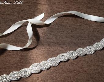 Wedding Sash with Crystal Clear Rhinestone Applique, Bridal Sash, Bridal Chain, Bridal Embellishment, Bride Belt, Bridal Accessory WS7