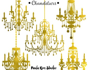 Gold Foil Chandelier Clipart, Wedding Clip Art, Instant Download, Commercial Use