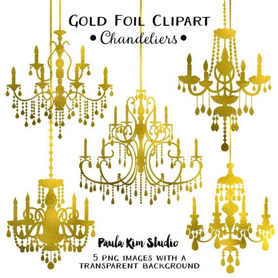 Gold Foil Chandelier Clipart Wedding Clip Art Instant