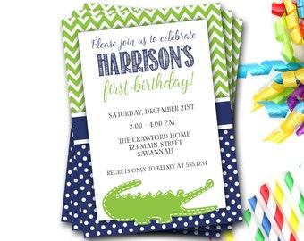 Alligator Birthday Invitation, Alligator Invite, Navy And Green, Preppy Invitation, Boy Birthday, First Birthday, Chevron, DIY Printable
