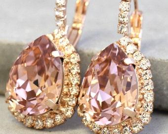 Blush Earrings, Blush Bridal Earrings, Blush pink Crystal Drop Earrings, Swarovski Blush Pink Earrings, Bridal Dangle Earrings, Gift for her