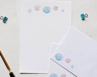 Shell Letter Writing Paper, Coastal Stationery, Sheets and Envelopes Hand Designed By CottageRts