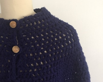 1970s Crocheted Poncho Cape Sweater Dark Blue Navy Acrylic Chunky Knit Handmade One Size Fits All