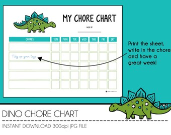 Instant Download Chore Chart - Dino