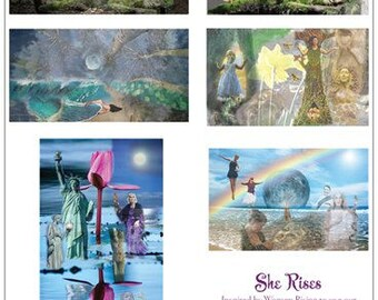 She Rises - set of 6 greeting cards honoring women finding their voices, rising, woman, strength, truth, Feminine, feminist, maiden, mother