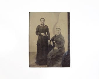 Vintage Tintype Photo of Two Women Sisters / Victorian Era Tintype Photograph