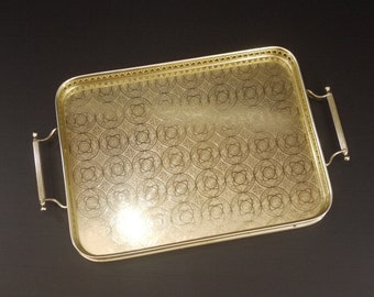 Vintage Gold Serving Tray Woodmet, Mid Century Gold Anodized aluminum Large Cocktail Tray Hollywood Regency