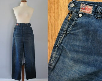 50s Western Girl jeans - vintage Fishback blue denim white pearl snap high waisted rockabilly ranch side zip retro pinup cowgirl Denver XS
