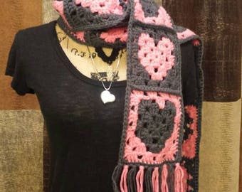Granny Square Sweetheart Scarf