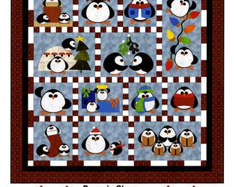 Penguin Cheer Holiday Christmas FatCat Quilt Pattern Fusible Machine Applique