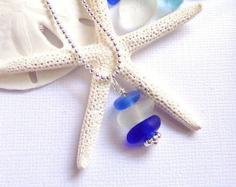 Sea Glass Jewelry Cobalt White Beach Glass Pendant Garden Leaf Seaside
