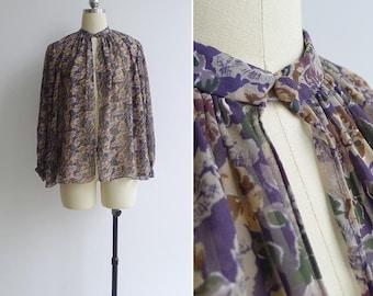 Vintage 70's Bohemian Floral Chiffon Cape Jacket Blouse S M or L