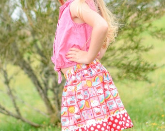 Hello Kitty small block print  Skirt  (18 mos, 2T, 3T, 4T, 5, 6)