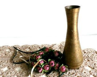 Brass Vase Vintage, Etched Gold Bud Vase, Small Solid and Firm Brass Vase, Vintage Floral Etched Vase, kitchen decor