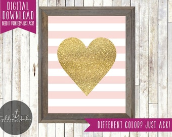 Pink and Gold Glitter Stripe Heart Print - Printable DIY