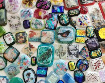 A Little Bit of This and That Part II - Destash - 100 Piece Fused Glass Cabochons
