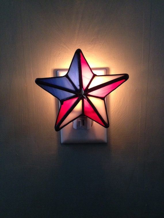 patriotic star 4th of july stained glass night light sun. Black Bedroom Furniture Sets. Home Design Ideas